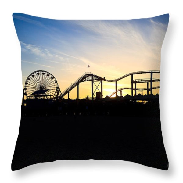 Santa Monica Pier Sunset Photo Throw Pillow by Paul Velgos