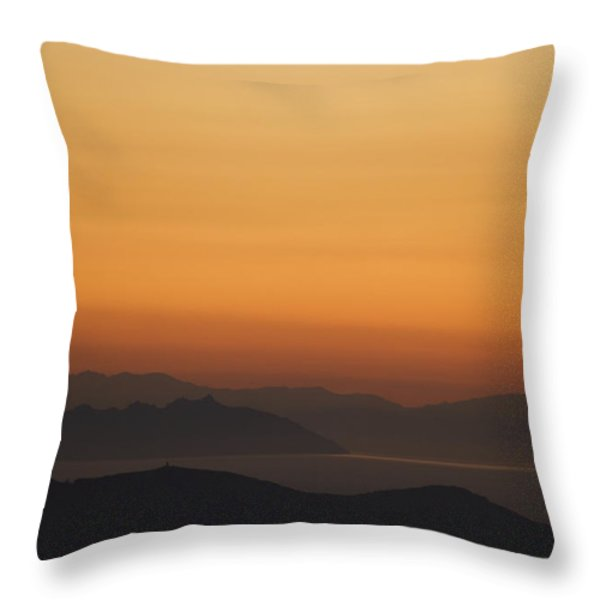 Santo Stefano Coastline At Sunset Throw Pillow by Axiom Photographic