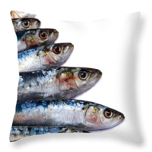 Sardines Throw Pillow by Jane Rix