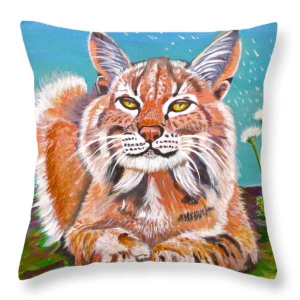 Sassy Lynx And Dandelions Throw Pillow by Phyllis Kaltenbach