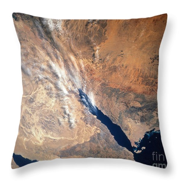 Satellite Image Of Land Throw Pillow by Stocktrek Images