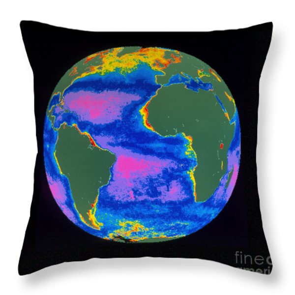Satellite Image Of The Atlantic Ocean Throw Pillow by Dr. Gene Feldman, NASA Goddard Space Flight Center