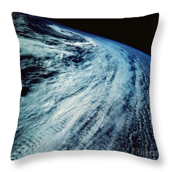 Satellite Images Of Storm Patterns Throw Pillow by Stocktrek Images