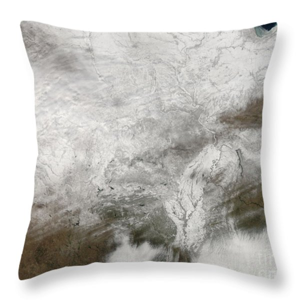 Satellite View Of A Severe Winter Storm Throw Pillow by Stocktrek Images