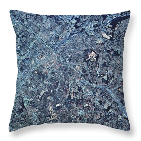 Satellite View Of Charlotte, North Throw Pillow by Stocktrek Images