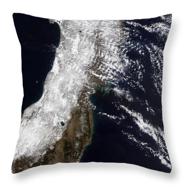 Satellite View Of Northeast Japan Throw Pillow by Stocktrek Images