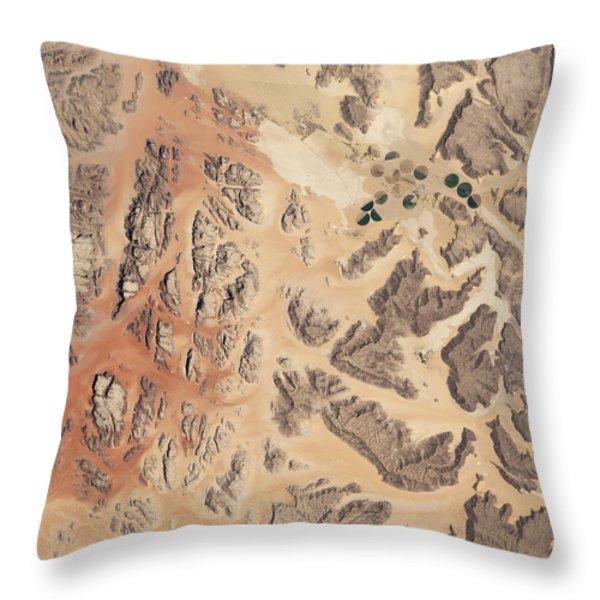 Satellite View Of Wadi Rum Throw Pillow by Stocktrek Images