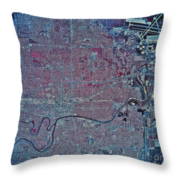 Satellite View Of Wichita, Kansas Throw Pillow by Stocktrek Images