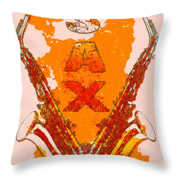 Sax Throw Pillow by David G Paul