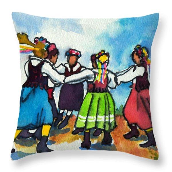 Scandinavian Dancers Throw Pillow by Kathy Braud