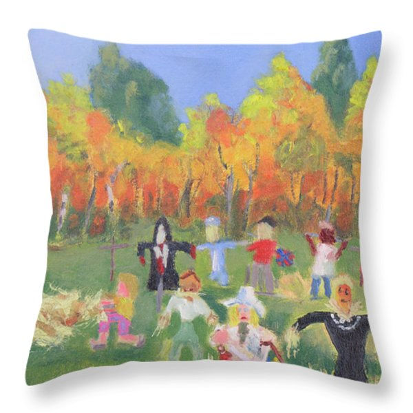 Scarecrow Contest Throw Pillow by Robert P Hedden