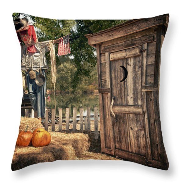 Scared Outhouse Throw Pillow by Vincent Cascio