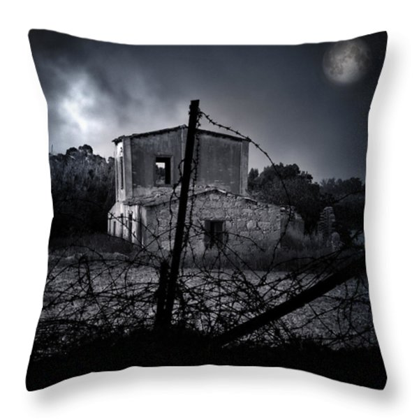 Scary House Throw Pillow by Stylianos Kleanthous