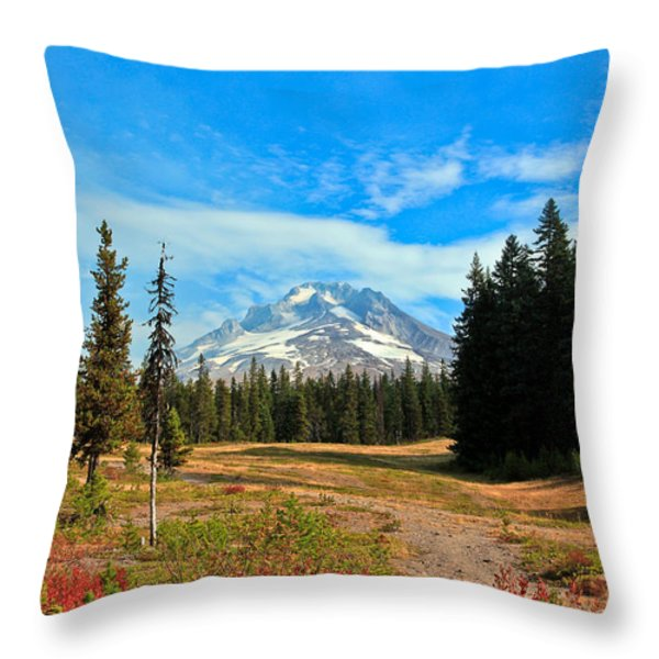 Scenic Mt. Hood In Oregon Throw Pillow by Athena Mckinzie