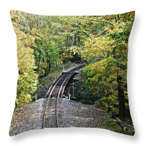Scenic Railway Tracks Throw Pillow by Susan Leggett
