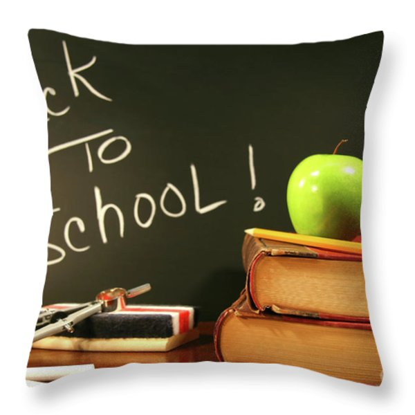 School Books With Apple On Desk Throw Pillow by Sandra Cunningham