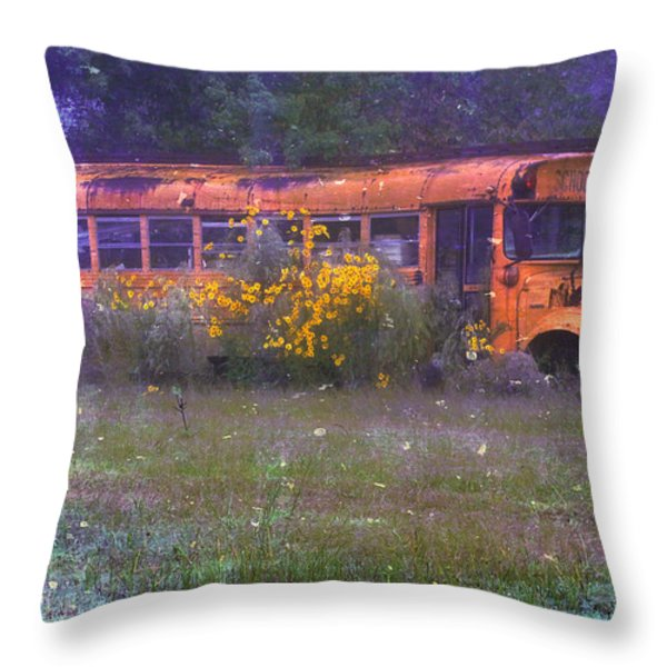 School Bus Out to Pasture Throw Pillow by Judi Bagwell