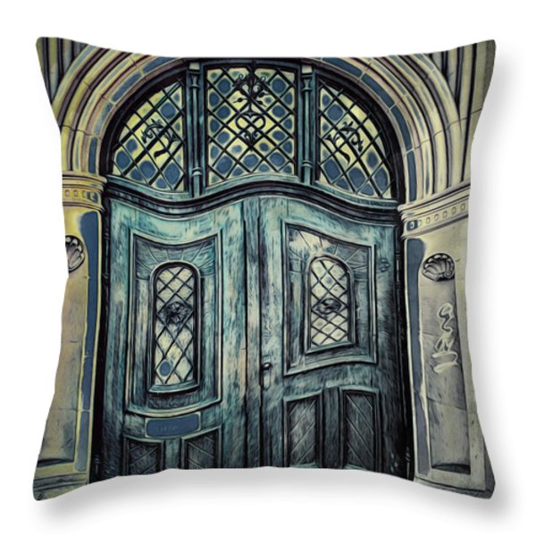 Schoolhouse Entrance Throw Pillow by Jutta Maria Pusl