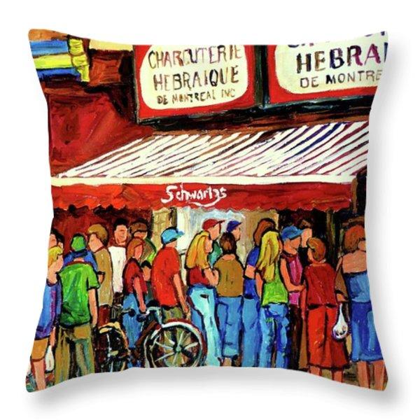 Schwartzs Deli Lineup Throw Pillow by Carole Spandau