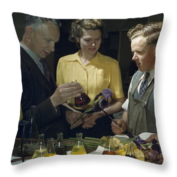 Scientists Examine Results Of Tests Throw Pillow by B. Anthony Stewart