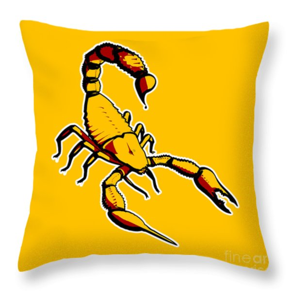 Scorpion Graphic  Throw Pillow by Pixel Chimp