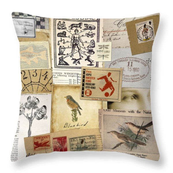 Scrapbook Page Number 1 Throw Pillow by Carol Leigh