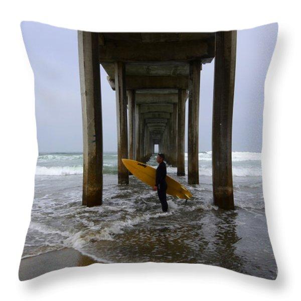 Scripps Pier Surfer 2 Throw Pillow by Bob Christopher