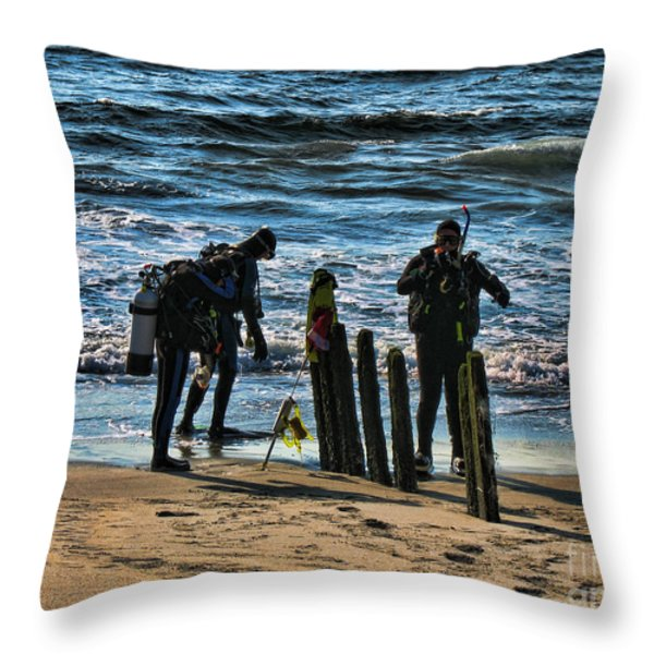 Scuba Divers Throw Pillow by Paul Ward