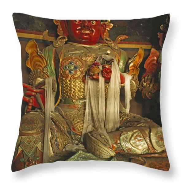 Sculpture Of Wrathful Protective Deity Throw Pillow by Gordon Wiltsie