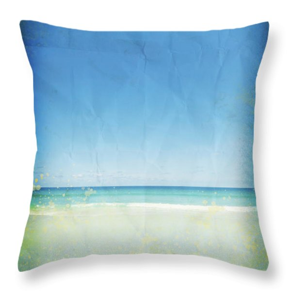 sea and sky on old paper Throw Pillow by Setsiri Silapasuwanchai