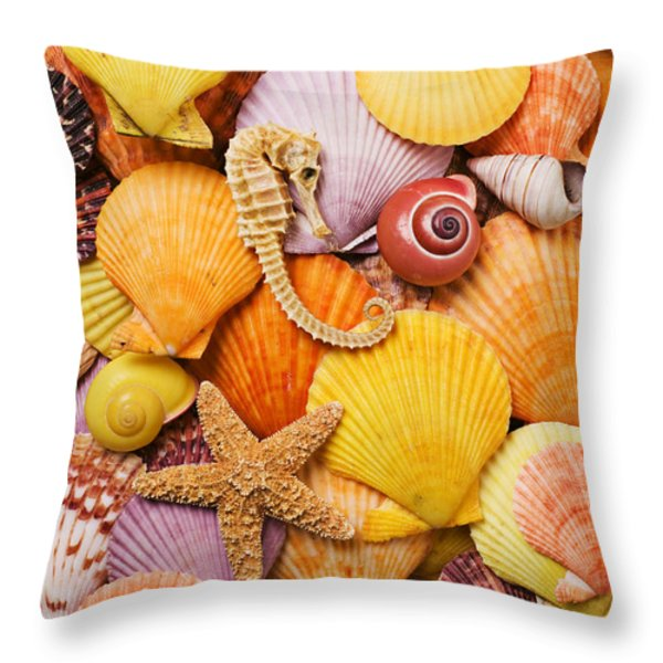 Sea horse starfish and seashells  Throw Pillow by Garry Gay