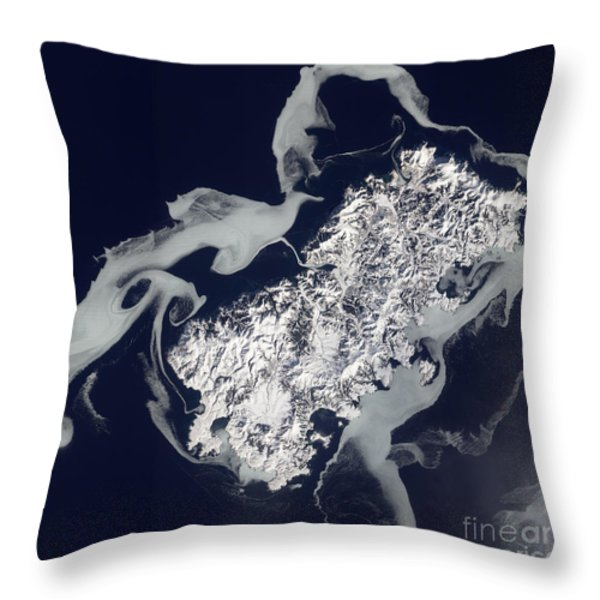 Sea Ice Surrounds The Volcanic Island Throw Pillow by Stocktrek Images
