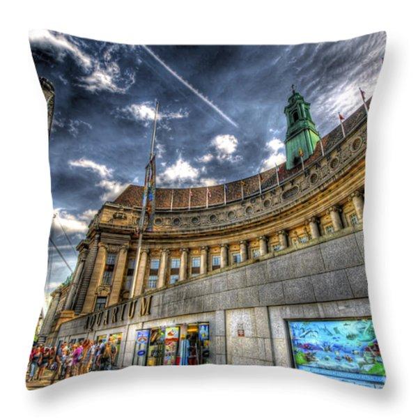 Sea Life London Aquarium And London Eye Throw Pillow by Yhun Suarez