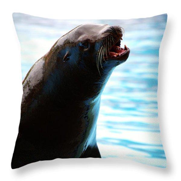 Sea-lion Throw Pillow by Carlos Caetano