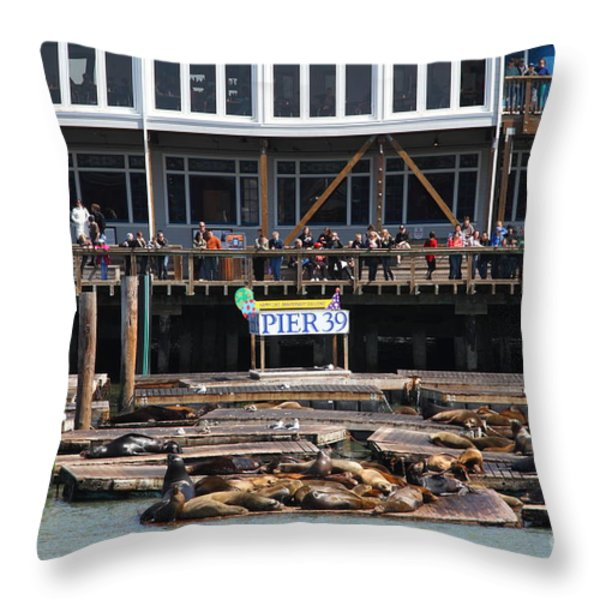 Sea Lions At Pier 39 San Francisco California . 7d14272 Throw Pillow by Wingsdomain Art and Photography