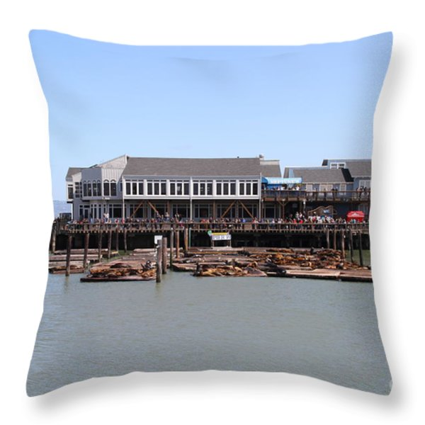 Sea Lions At Pier 39 San Francisco California . 7D14273 Throw Pillow by Wingsdomain Art and Photography