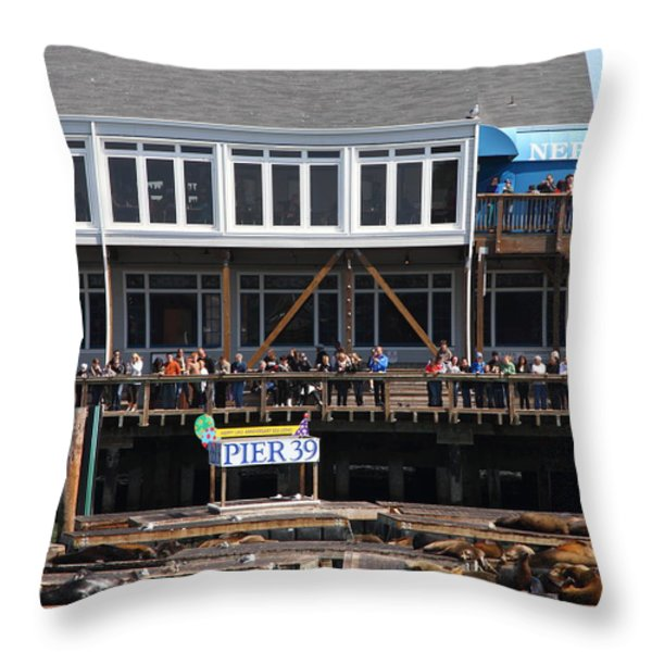 Sea Lions At Pier 39 San Francisco California . 7d14274 Throw Pillow by Wingsdomain Art and Photography