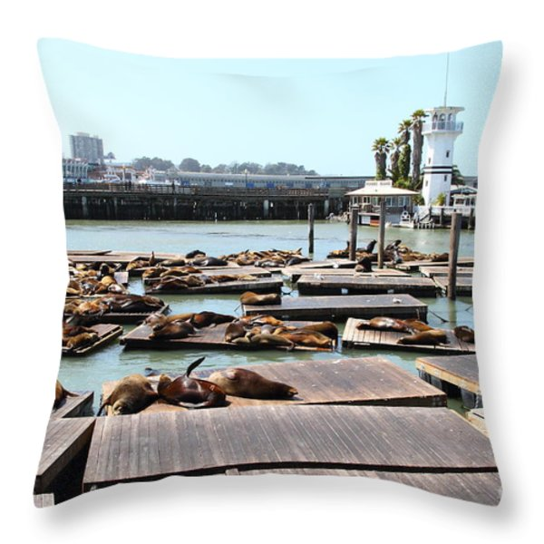 Sea Lions At Pier 39 San Francisco California . 7d14309 Throw Pillow by Wingsdomain Art and Photography