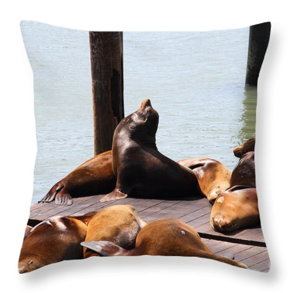 Sea Lions At Pier 39 San Francisco California . 7D14314 Throw Pillow by Wingsdomain Art and Photography