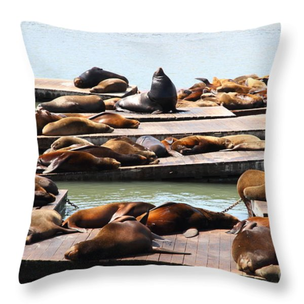 Sea Lions At Pier 39 San Francisco California . 7D14316 Throw Pillow by Wingsdomain Art and Photography