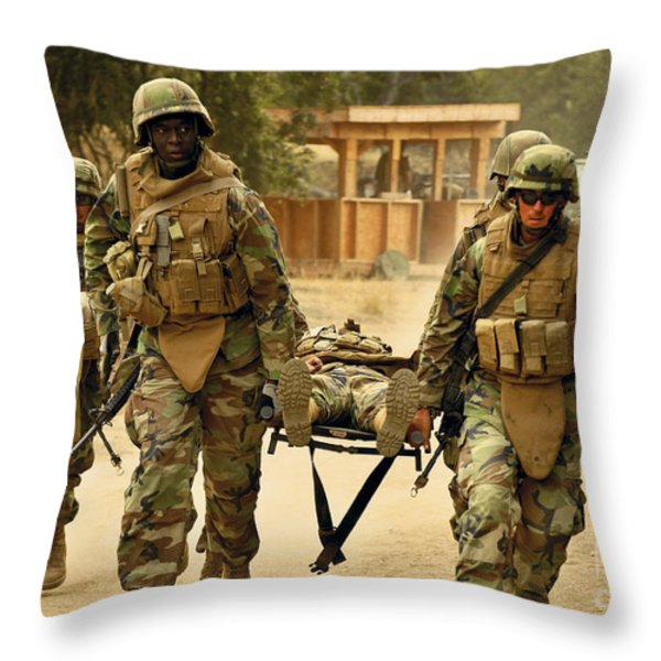 Seabees Conduct A Mass Casualty Drill Throw Pillow by Stocktrek Images
