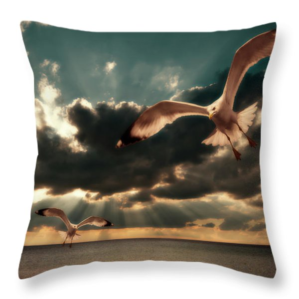 seagulls in a grunge style Throw Pillow by Meirion Matthias