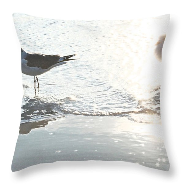 Seagulls In A Shimmer Throw Pillow by Olivia Novak