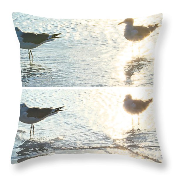 Seagulls In A Shimmer Two Views By Olivia Novak Throw Pillow by Olivia Novak