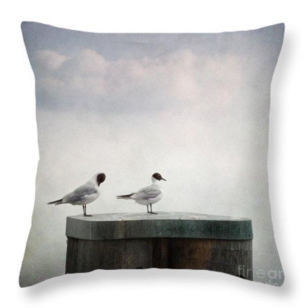 seagulls Throw Pillow by Priska Wettstein