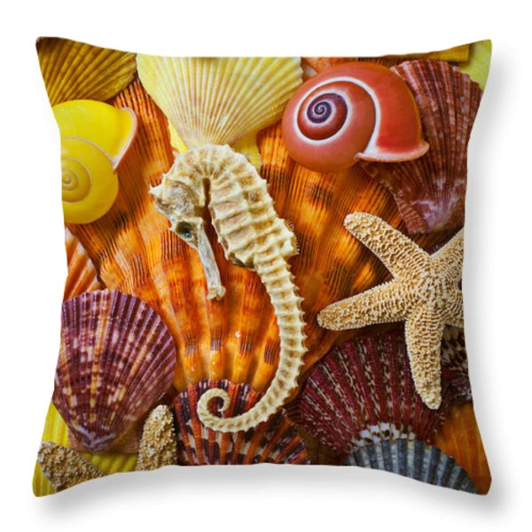 Seahorse And Assorted Sea Shells Throw Pillow by Garry Gay