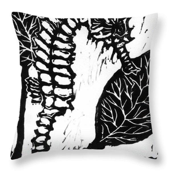 Seahorse Block Print Throw Pillow by Ellen Miffitt