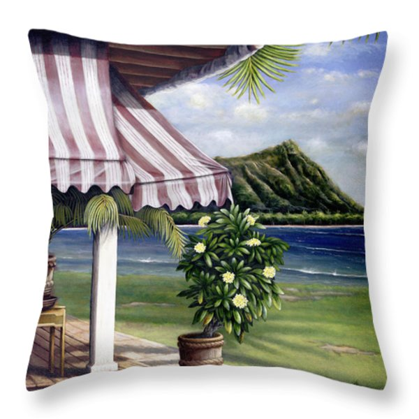 Seaside Hotel Throw Pillow by Sandra Blazel - Printscapes