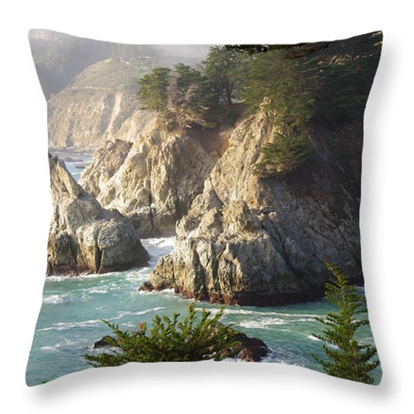 Secluded Big Sur Cove 1 Throw Pillow by Jeff Lowe