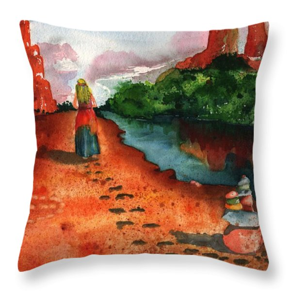 Sedona Arizona Spiritual Vortex Zen Encounter Throw Pillow by Sharon Mick